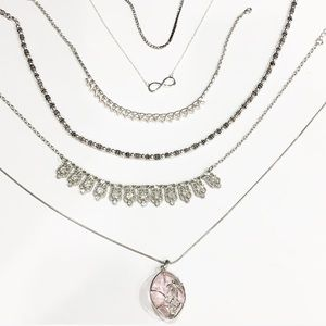 6 pc Silver tone jewelry  necklace lot